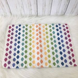 Crate&Barrel White and rainbow solstice placemat